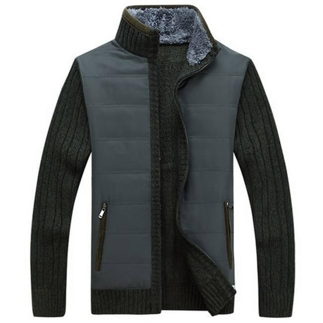 Куртка мужская с вязанными рукавами